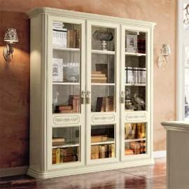 Книжный шкаф Torriani Avorio 3дв. (двери стекло, полки дерево)